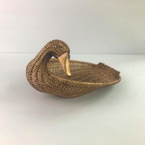 Gold Decorative Duck Wicker Basket